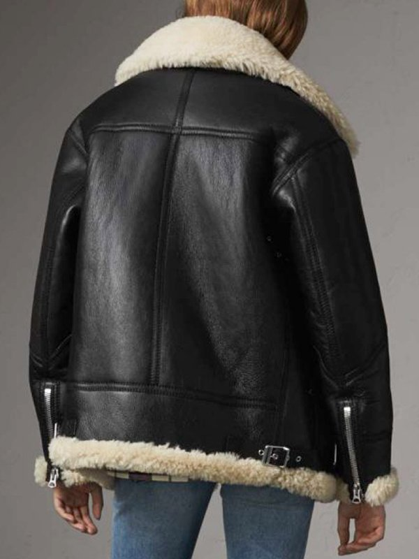 Shearling Aviator Ivory Black Leather Jacket For Women's