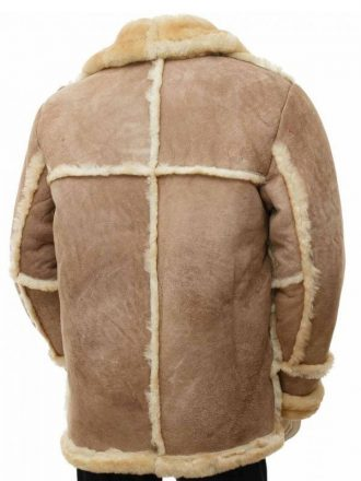Shearling Brown Sheepskin Leather Coat for Mens