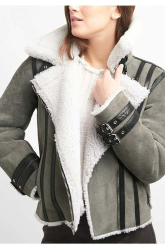 Shearling Grey Suede Leather Biker Jacket For Women's