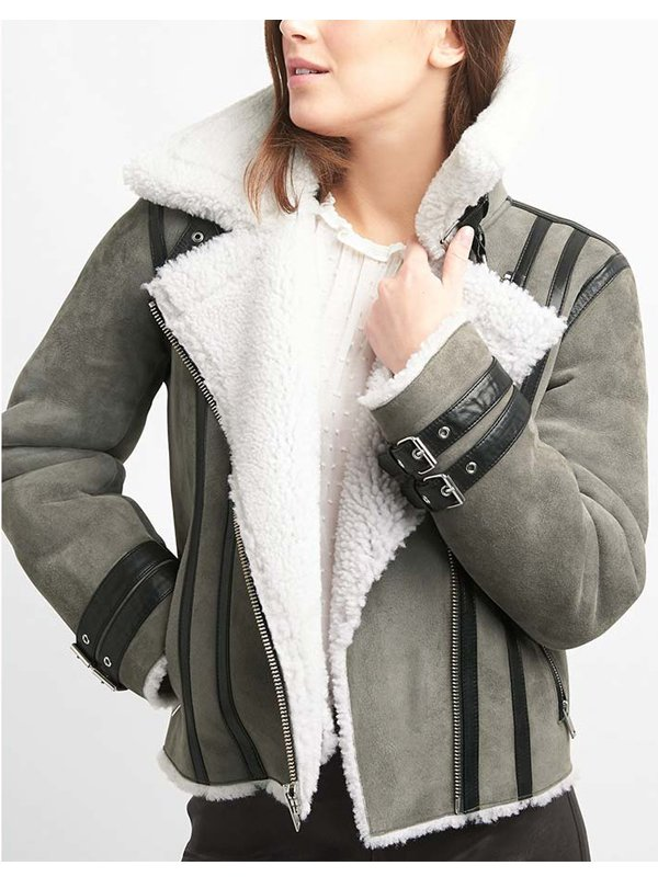 Shearling Grey Suede Leather Biker Jacket For Women's