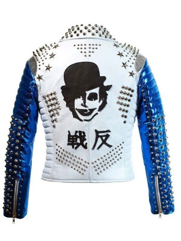 Silver Studded White & Blue Motorcycle Leather Jacket for Mens
