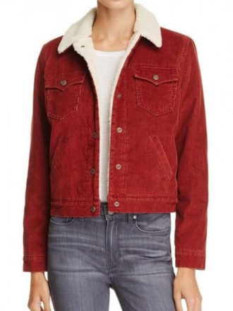 Stranger Things Natalia Dyer Red Corduroy Shearling Jacket