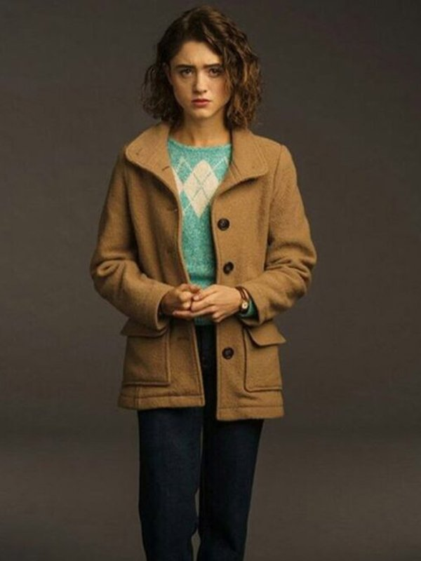 Stranger Things S03 Natalia Dyer Brown Wool Coat