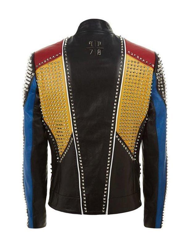 Studded Multicolor Slimfit Leather Jacket For Men's