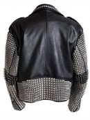 Stylish Black Punk Studded Biker Leather Jacket For Mens