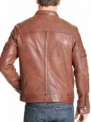 Stylish Brown Biker Leather Jacket For Mens