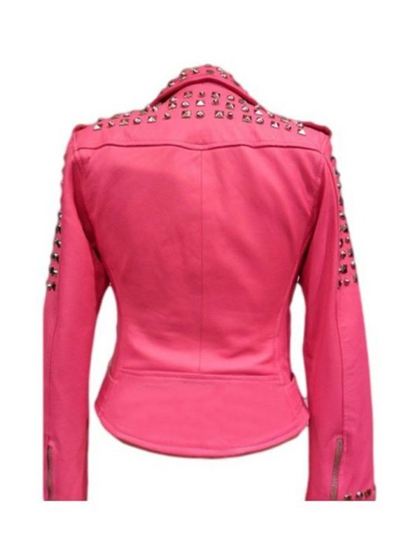 Stylish Golden Studded Pink Belted Leather Jacket For Womens