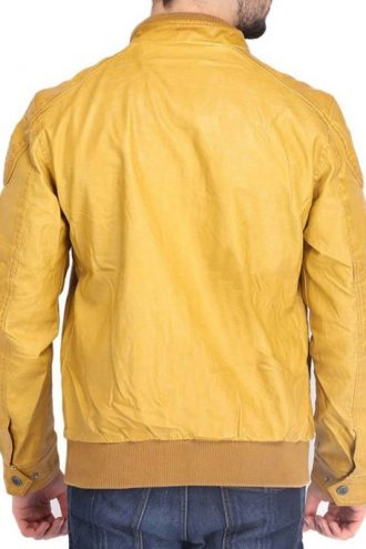 Stylish Quilted Yellow Biker Leather Jacket For Mens