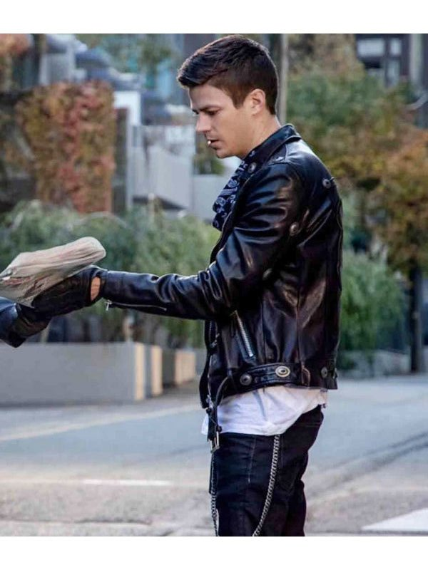 The Flash Grant Gustin Black Biker Jacket