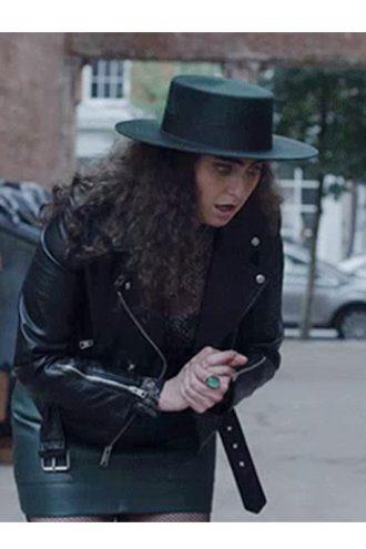 The Lovebirds Catherine Cohen Black Motorcycle Leather Jacket