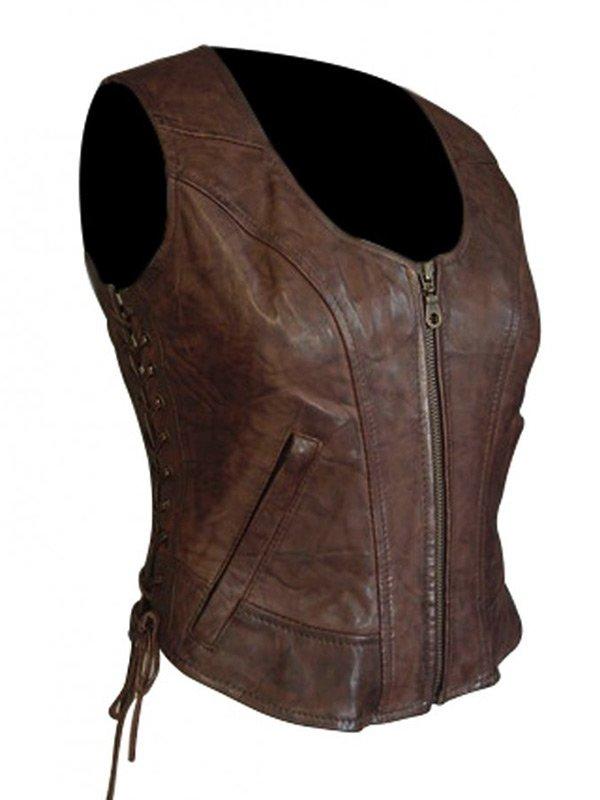 The Walking Dead Danai Gurira Brown Leather Vest