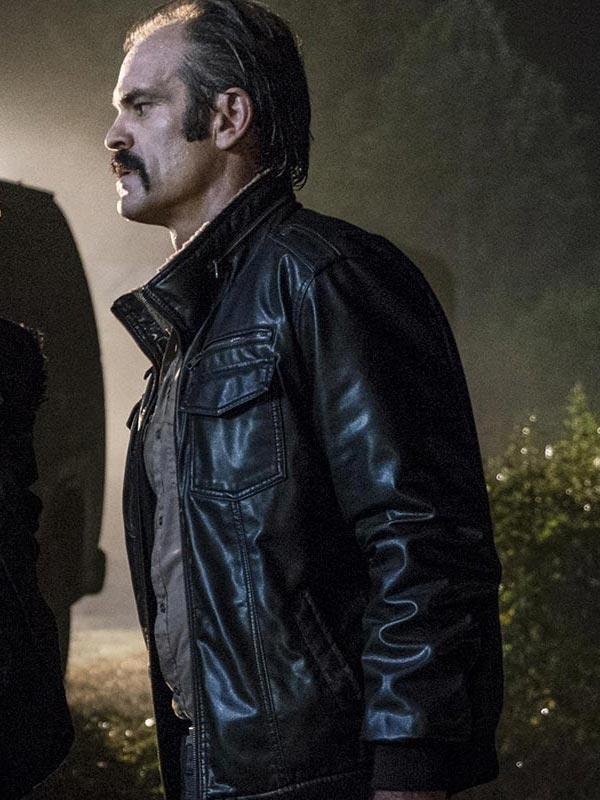 The Walking Dead Simon Black Bomber Leather Jacket