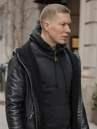 Tv Series Power Joseph Sikora Shearling Black Leather Jacket With Hood