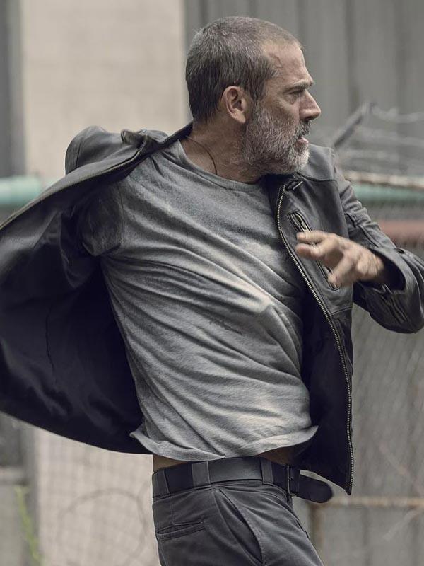 Tv Series The Walking Dead Jeffery Dean Morgan Black Leather Jacket