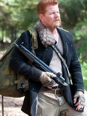 Tv Series The Walking Dead Michael Cudlitz Black Fur Collar Jacket