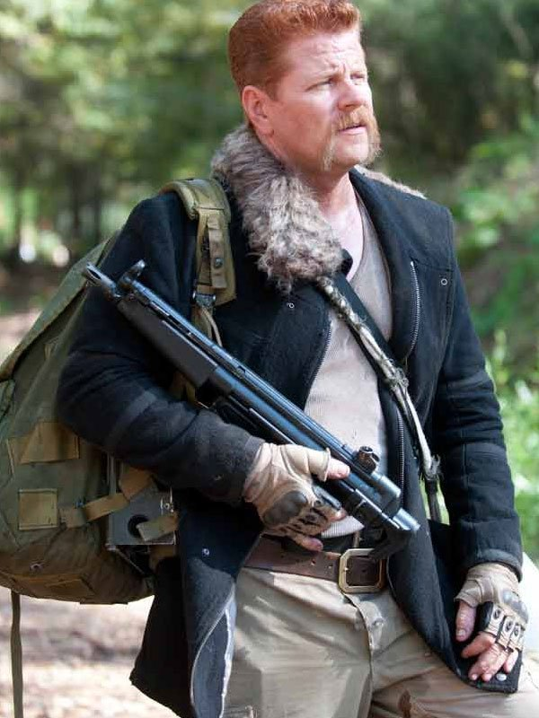 Tv Series The Walking Dead Michael Cudlitz Black Fur Collar Jacket