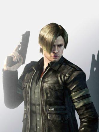 Video Game Resident Evil 6 Leon Kennedy Black Leather Jacket