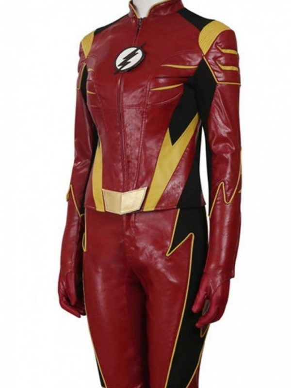 Violett Beane The Flash Red Leather Jacket