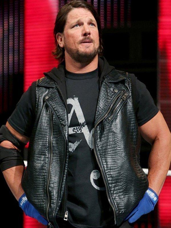 WWE AJ Styles Hooded Black Vest