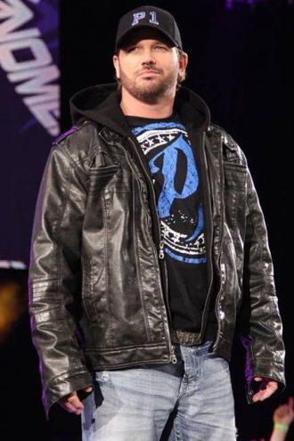 WWE Superstar AJ Style Blacke Leather Jacket With Hood