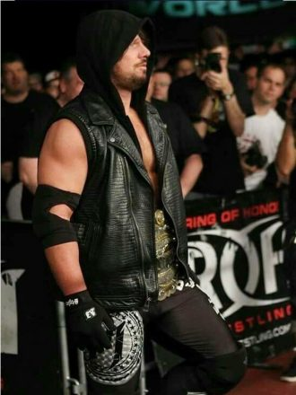 WWE Superstar AJ Styles Black Leather Vest With Removable Hoodie