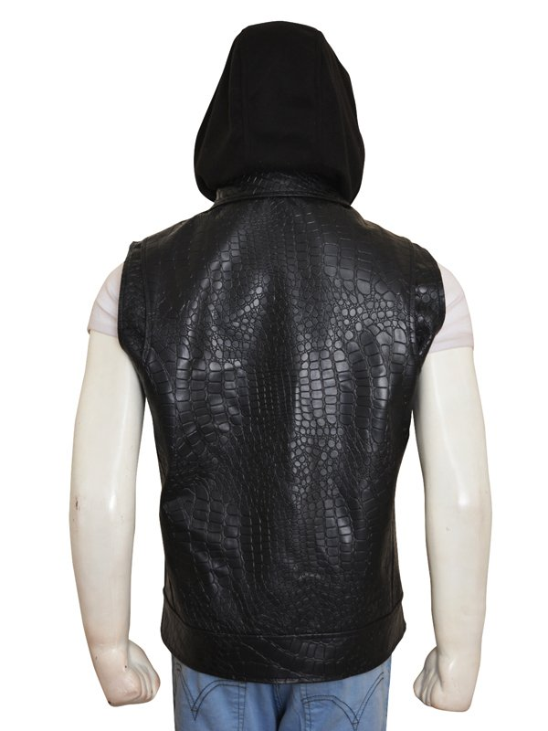 WWE Superstar AJ Styles Leather Vest With Removable Hood
