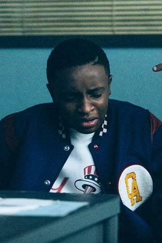 When They See Us Caleel Harris Blue Letterman Bomber Jacket