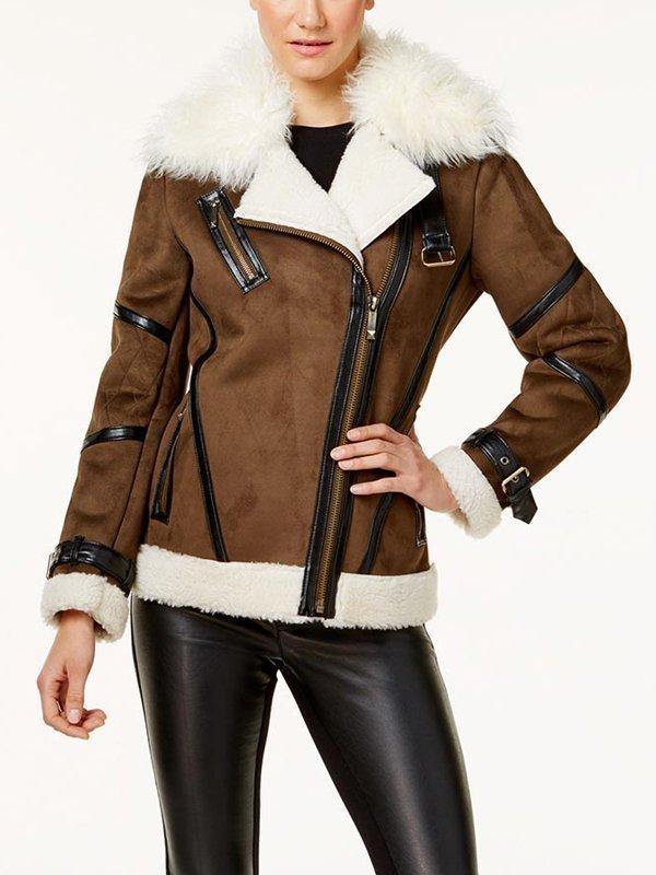 Women's Asymmetrical Shearling Leather Jacket