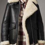 Women's Aviator Ivory Shearling Black Leather Jacket