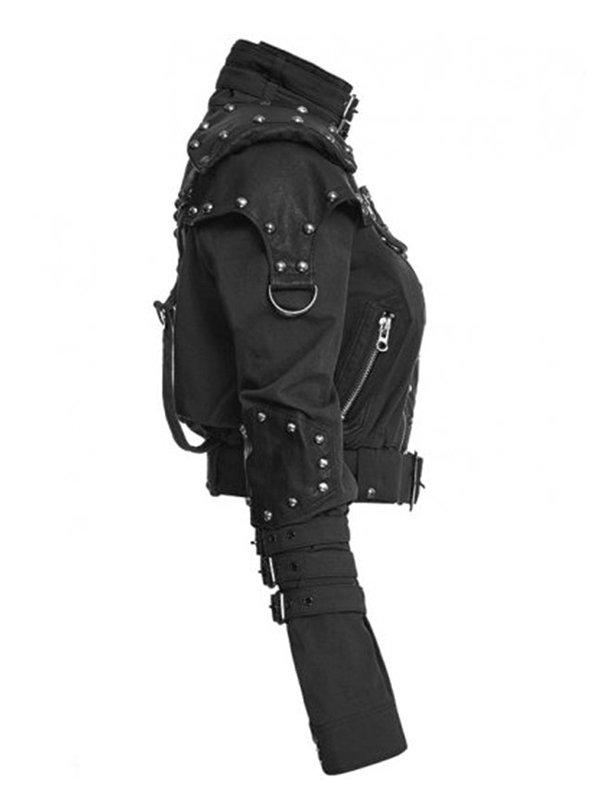 Womens Black Cropped Studded Jacket