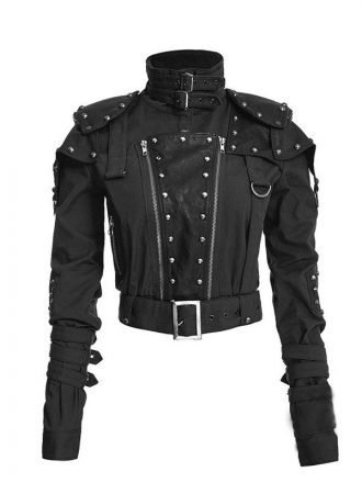 Womens Black Cropped Studded Military Jacket