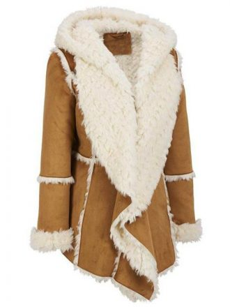 Women's Brown Shearling Hooded Overcoat