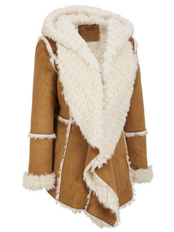 Women's Brown Shearling Hooded Overcoat