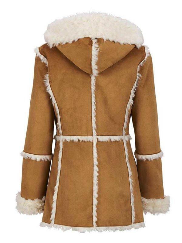 Women's Brown Suede Leather Fur Overcoat With Hood