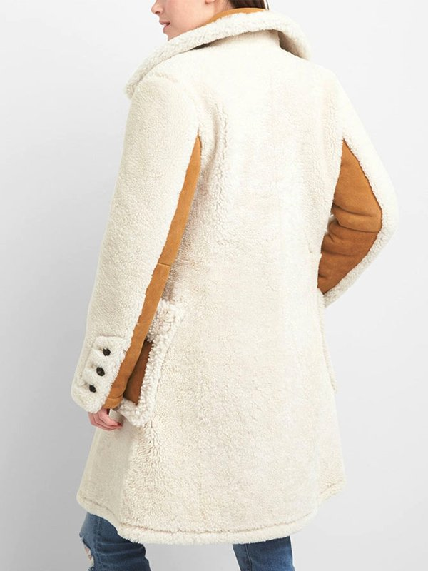 Women's Double Breasted White Shearling Coat