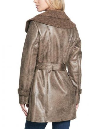 Women's Duster Shearling Brown Leather Coat