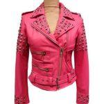Womens Golden Studded Pink Biker Leather Jacket