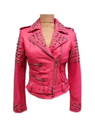 Womens Golden Studded Pink Biker Leather Jacket