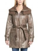 Women's Mid-Length Shearling Duster Trench Coat