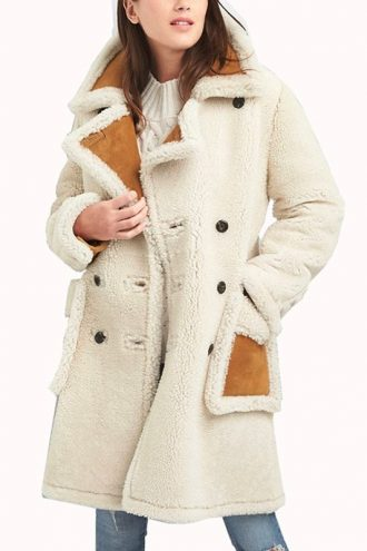 Women's Shearling Double Breasted Suede Leather Coat