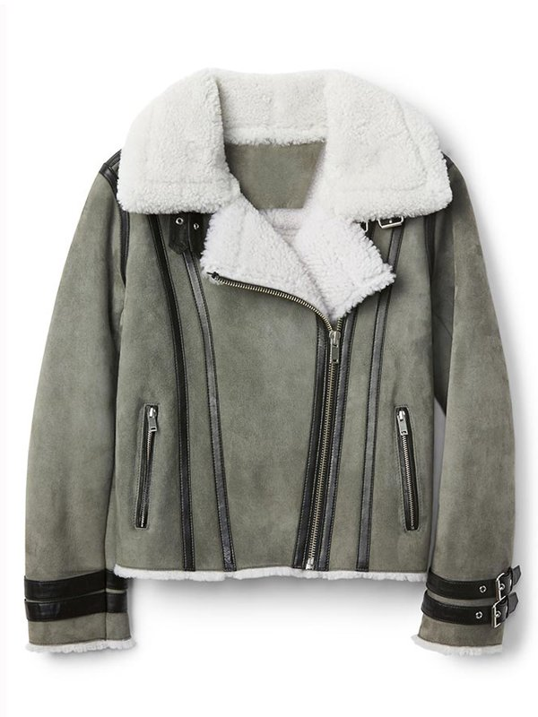 Women's Shearling Grey Motorcycle Leather Jacket
