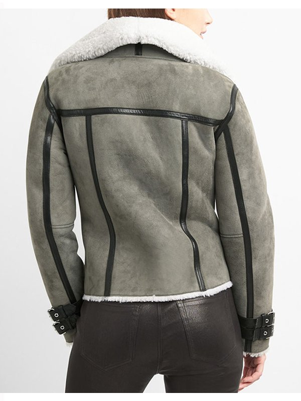 Women's Shearling Grey Sude Leather Jacket