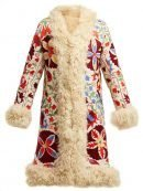 Women's Shearling Hannah Floral Embroidered Coat