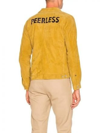 Yellow Suede Leather Jacket for Men's