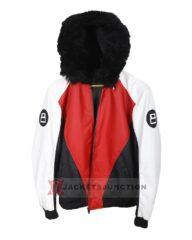 8 Ball Logo Fur Hooded Bomber Jacket