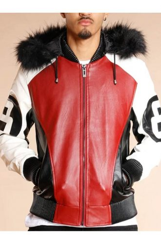 8 Ball Logo Fur Hooded Bomber Jacket