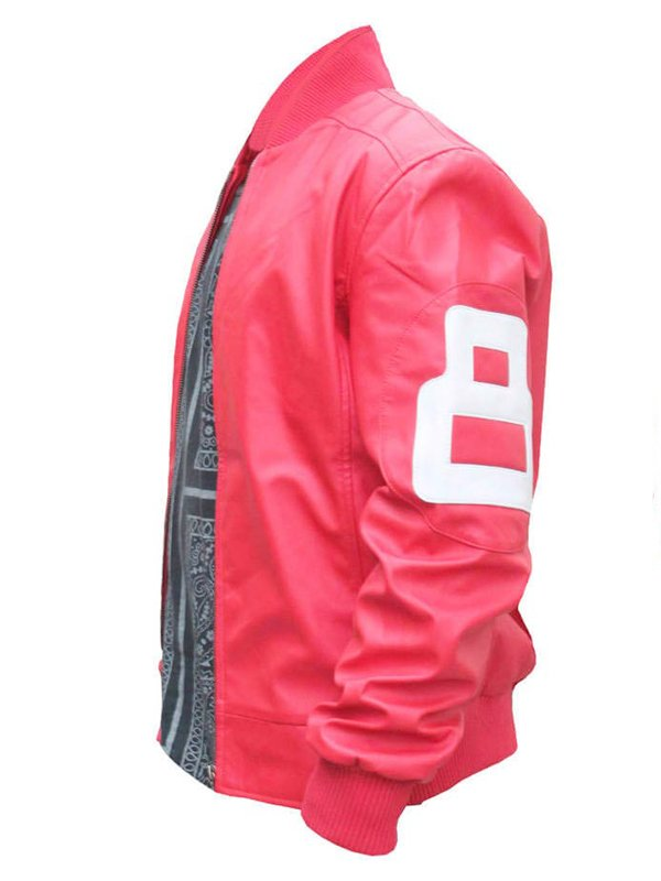 8 Ball Pink Bomber Leather Jacket For Men