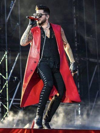 Adam Lambert Concert 2019 Red Sleevless Coat