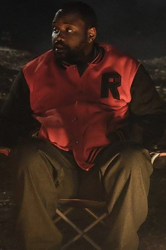 Alfred Miles Atlanta Red Letterman Bomber Jacket