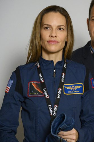 Away Hilary Swank Blue Uniform Jacket